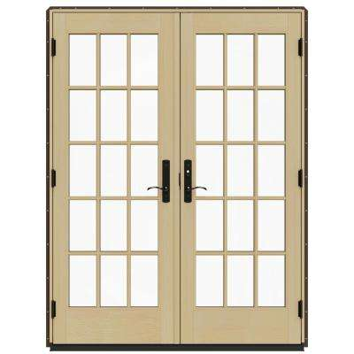 60 in. x 80 in. W-4500 Brown Clad Wood Left-Hand 15 Lite French Patio Door w/Lacquered Interior