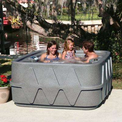 Premium 400 4-Person Plug and Play Hot Tub with 20 Stainless Jets, Heater, Ozone and LED Waterfall in Graystone