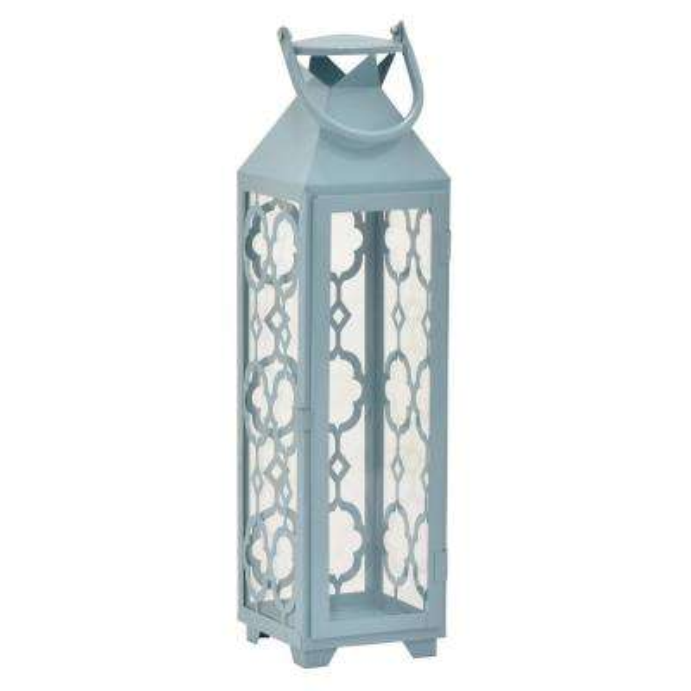 20.75 in. Blue Metal Decorative Lantern