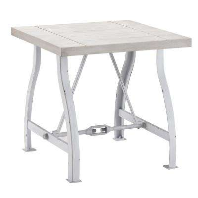 Torres Distressed White End Table