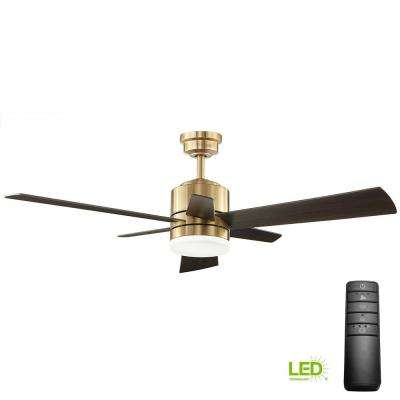 Hexton 52 in. LED Indoor Brushed Gold Ceiling Fan with Light Kit and Remote Control