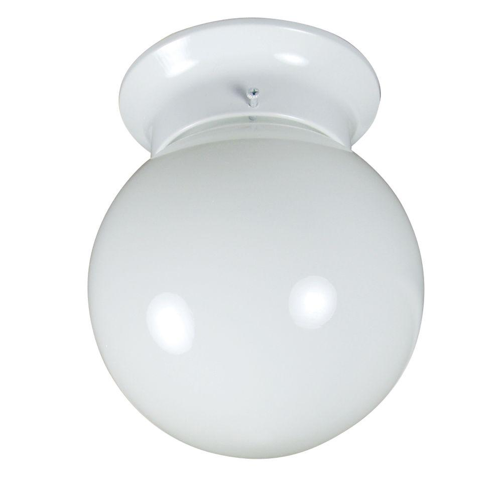 1-Light White Flushmount with White Glass Shade