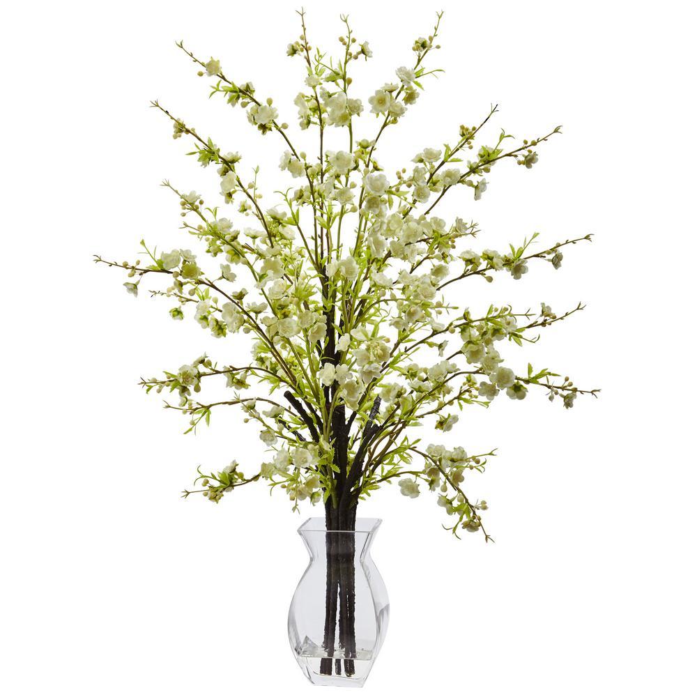 Cherry Blossom In Gl Vase White