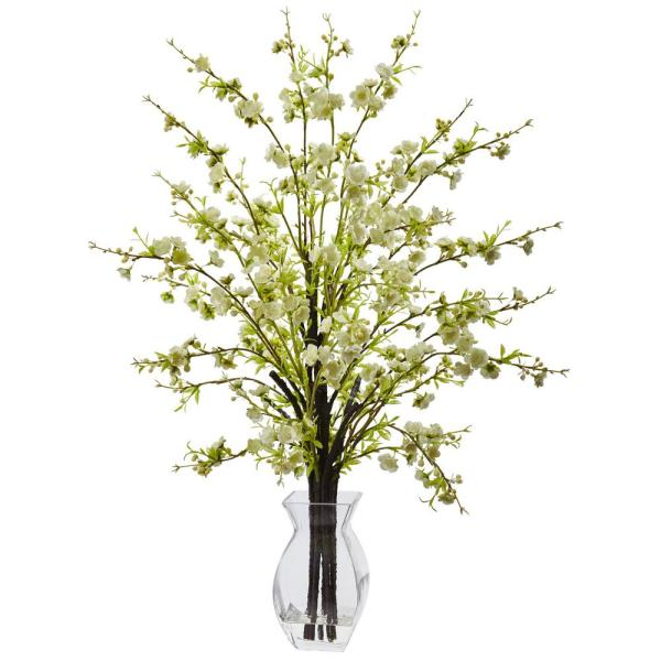 Nearly Natural 26 in. Cherry Blossom in Glass Vase in White