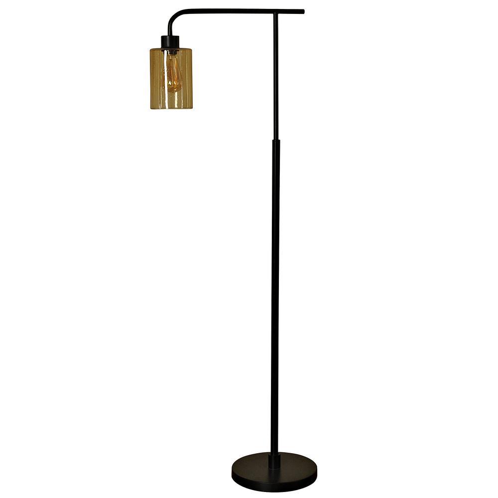 StyleCraft 59 in. Restoration Bronze Floor Lamp with Opulence Glass Shade