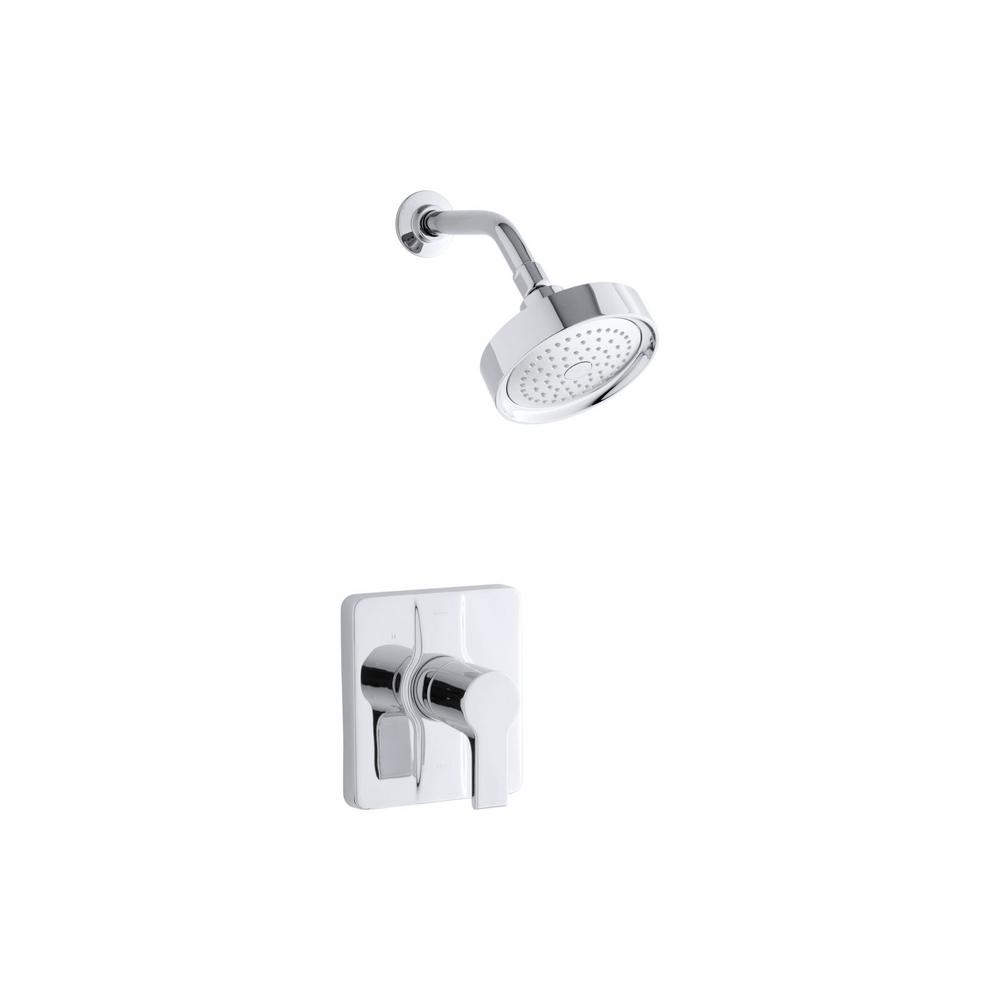 KOHLER Singulier 1-Handle 1-Spray 2.5 GPM Tub and Shower Faucet with Lever Handle in Polished Chrome