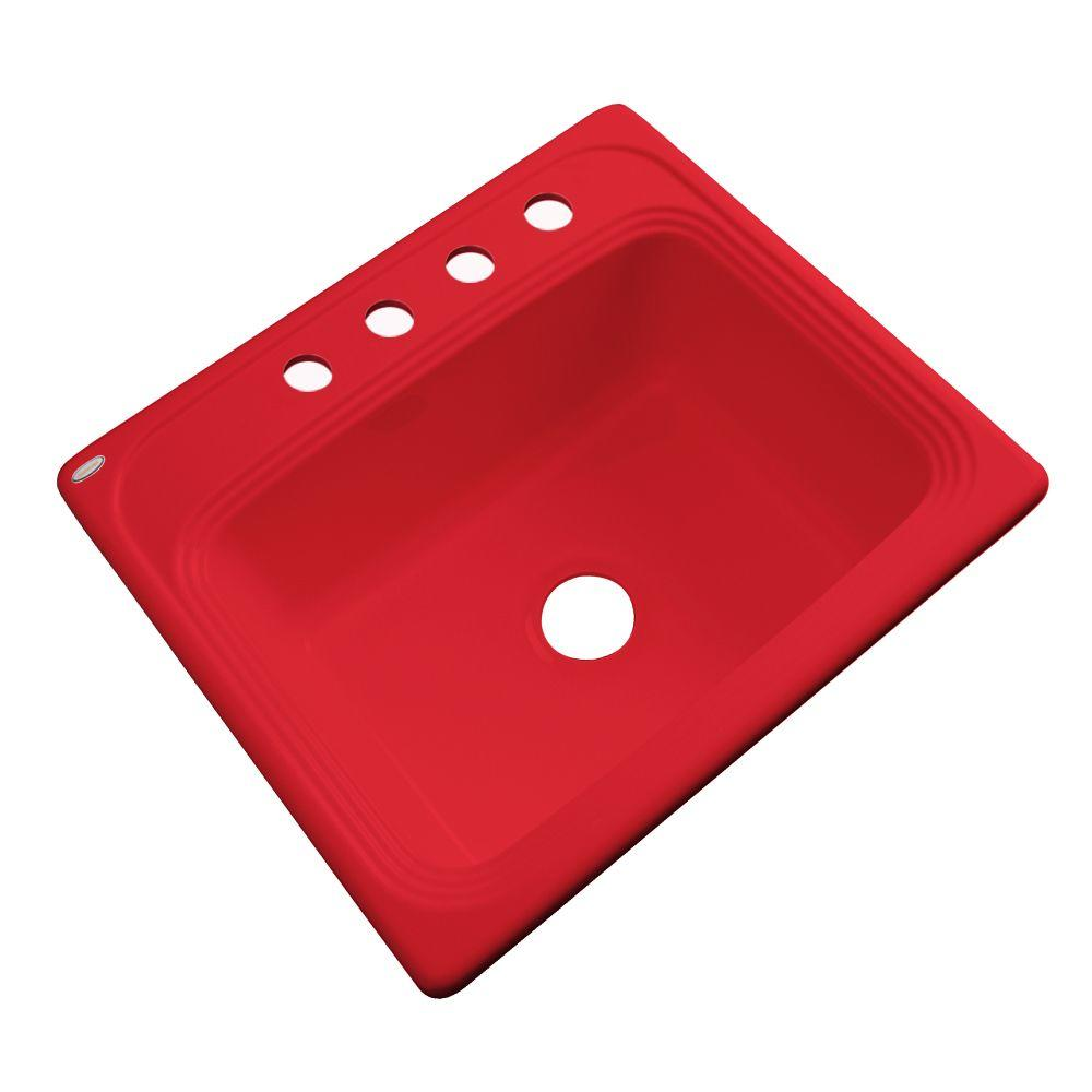 Thermocast Wellington Drop-in Acrylic 25x22x9 4-Hole Single Basin Kitchen Sink in Red