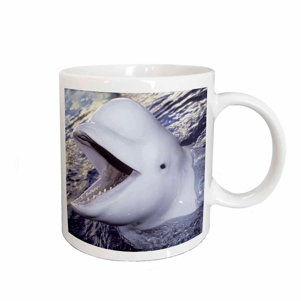 3D Rose Kike Calvo Animals 11 oz. White Ceramic Beluga Whale, Delphinapterus leucas Coffee Mug