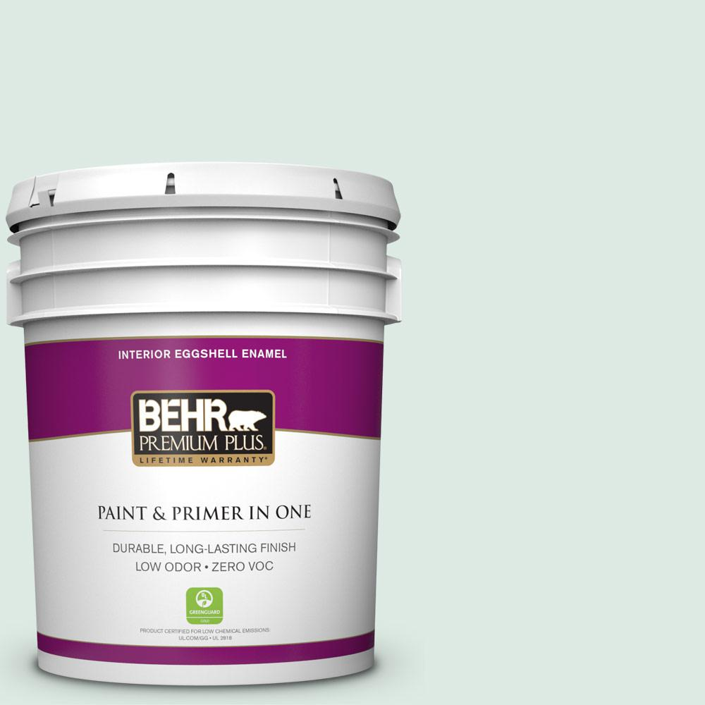 BEHR Premium Plus 5 gal. #M430-1 Snowbound Eggshell Enamel Zero VOC Interior Paint and Primer in One