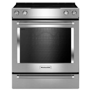 KitchenAid 30 inch 6.4 cu. ft. Slide-In Electric Range with Self-Cleaning Convection Oven in Stainless Steel by KitchenAid
