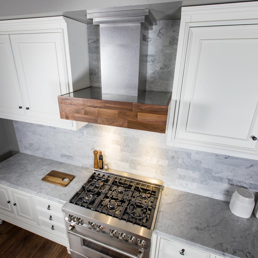Zline Kitchen And Bath 36 In Designer Series Wooden Wall Mount Range Hood Butcher Block 681w