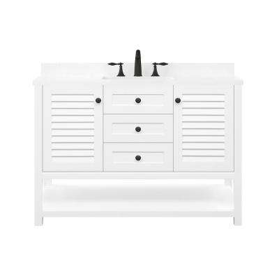 Grace 48 in. W x 22 in. D Bath Vanity in White with Cultured Marble Vanity Top in White with White Basin