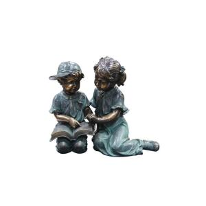 Alpine Boy and Girl Reading Together Statue by Alpine