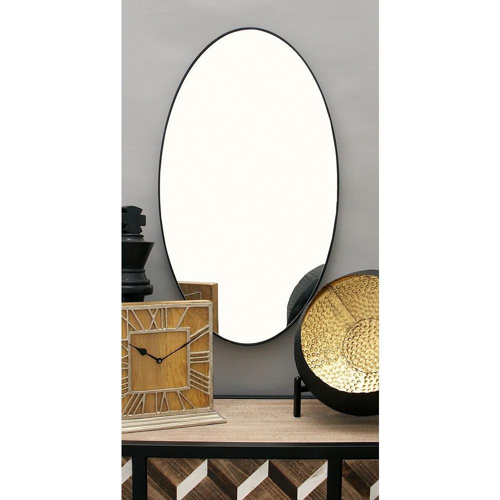 17 in. x 32 in. Modern Oval Black Wall Mirror