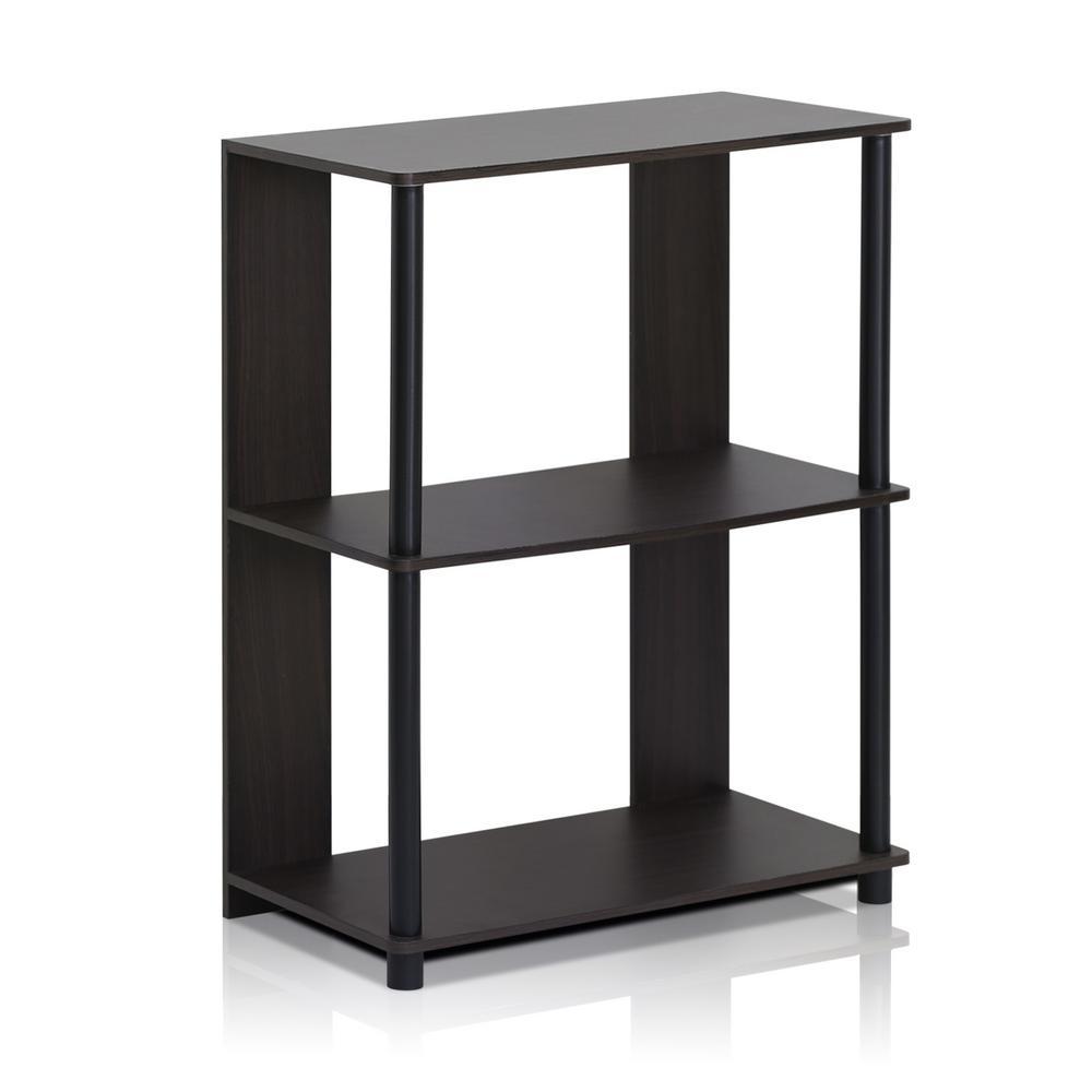 29.8 in. Walnut Wood 3-shelf Etagere Bookcase with Open Back