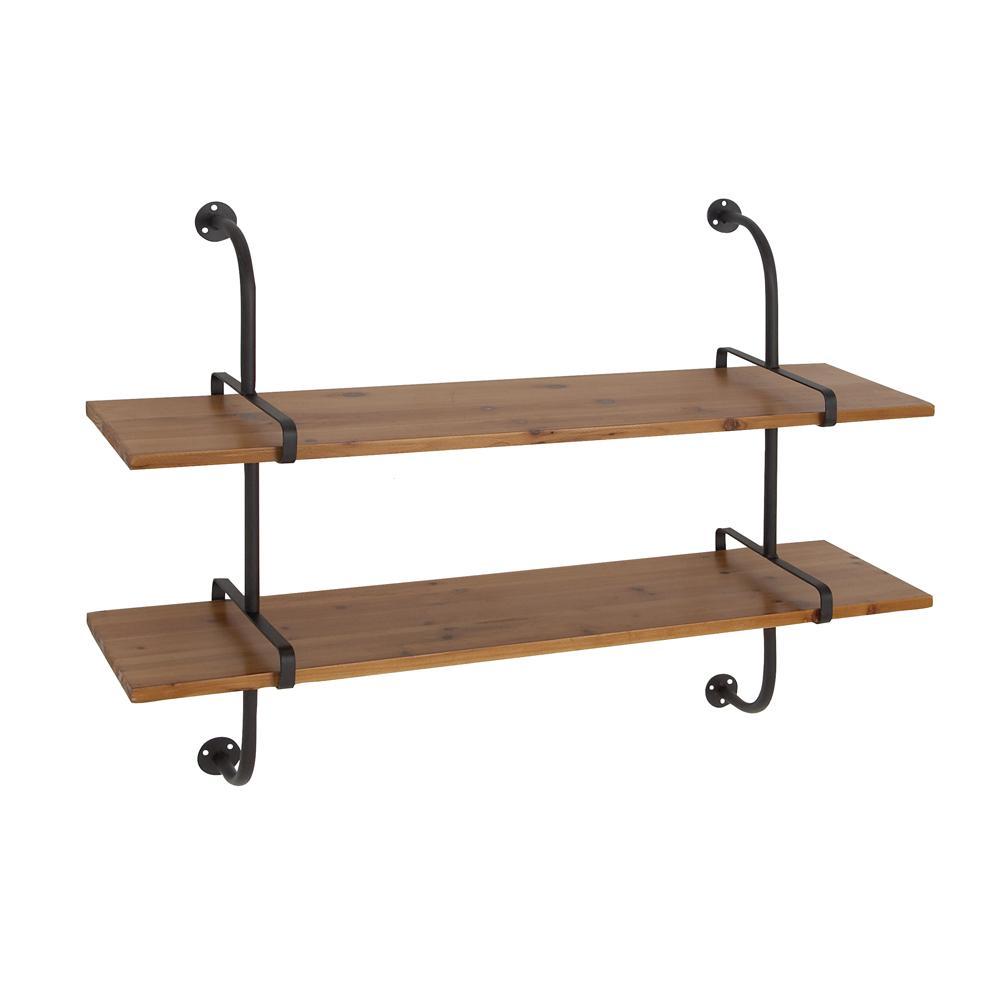 Brown 2-Tier Rectangular Wall Shelf
