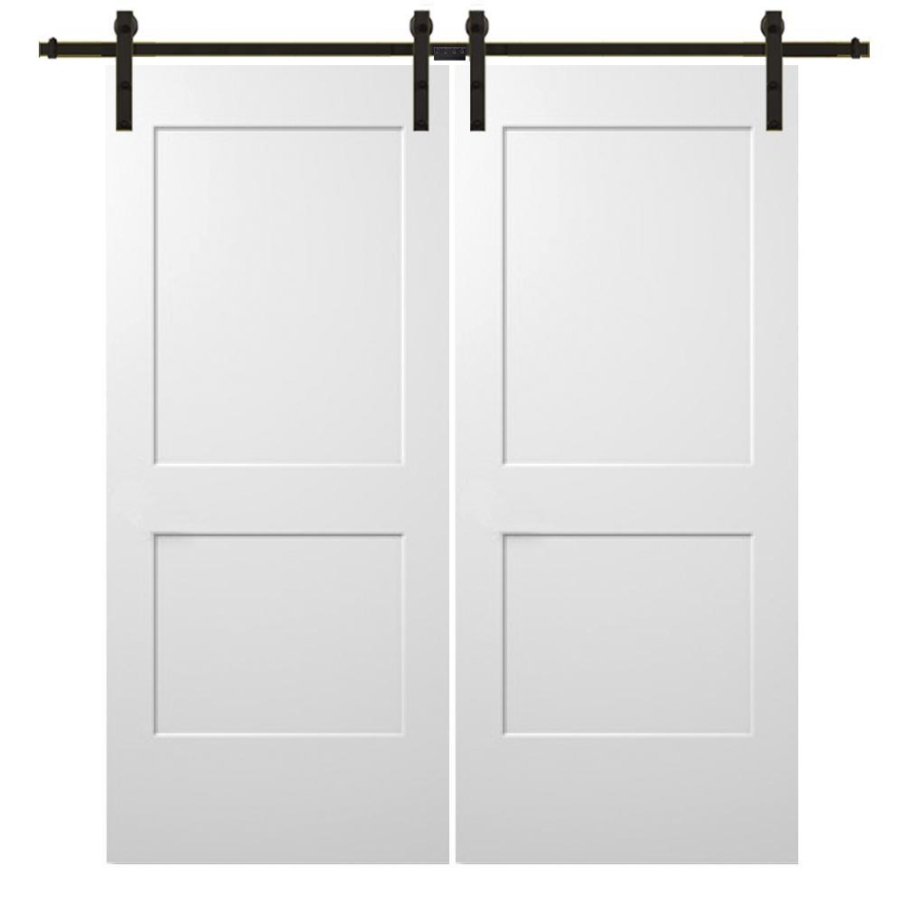60 in. x 80 in. Smooth Monroe Primed Composite Double Barn Door with Oil Rubbed Bronze Sliding Door Hardware Kit
