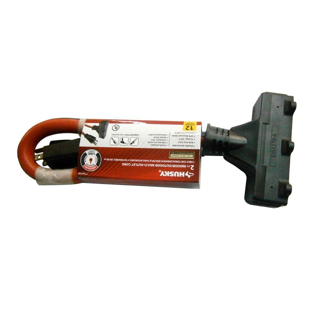 null 2 ft. 12/3 STW 3 Outlet Extension Cord - Red and Black