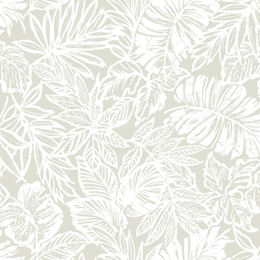 28.18 sq. ft. Batik Tropical Leaf Peel and Stick Wallpaper