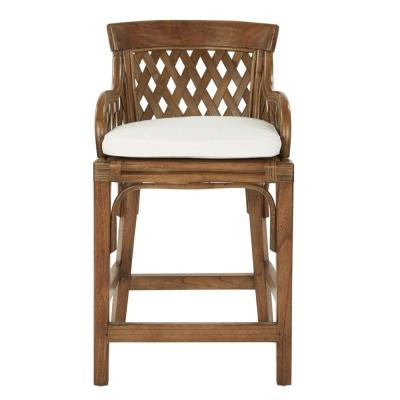 Plantation 24 in. Brown Stained Counter Stool with Wood Rattan Frame