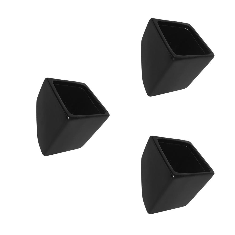 Cube 3-1/2 in. x 4 in. Black Ceramic Wall Planter (3-Piece)