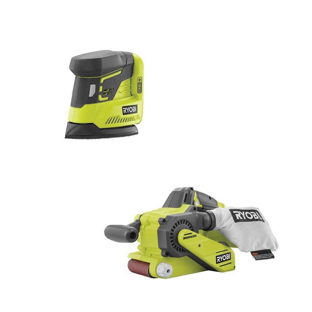 18-Volt ONE+ Cordless Brushless Belt Sander with Dust Bag and Corner Cat Sander with Sample Sandpaper (Tools Only)