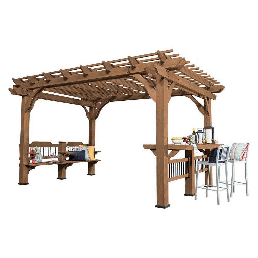 Backyard Discovery Oasis Wood Cedar Pergola - 14 Ft. X 10 Ft. Backyard Discovery Oasis Wood Cedar Pergola