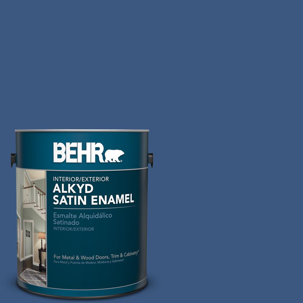 1 gal. #M520-7 Admiral Blue Satin Enamel Alkyd Interior/Exterior Paint