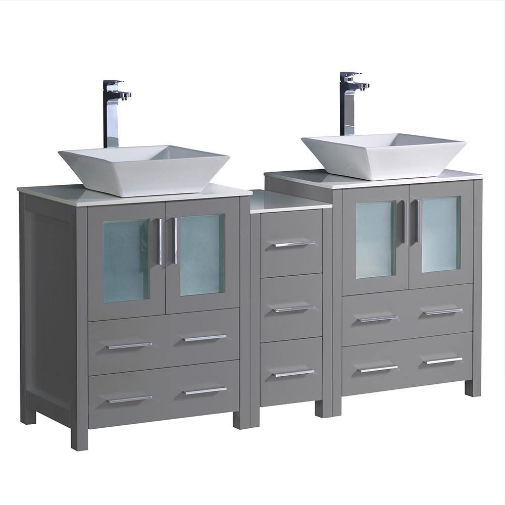 Fresca Torino 60 In W Double Bath Vanity Gray With Gl Stone Top White Vessel Sink Middle Cabinet