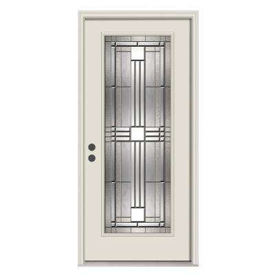 36 in. x 80 in. Cordova Primed Right-Hand Inswing Full Lite Decorative Steel Prehung Front Door w/Brickmould