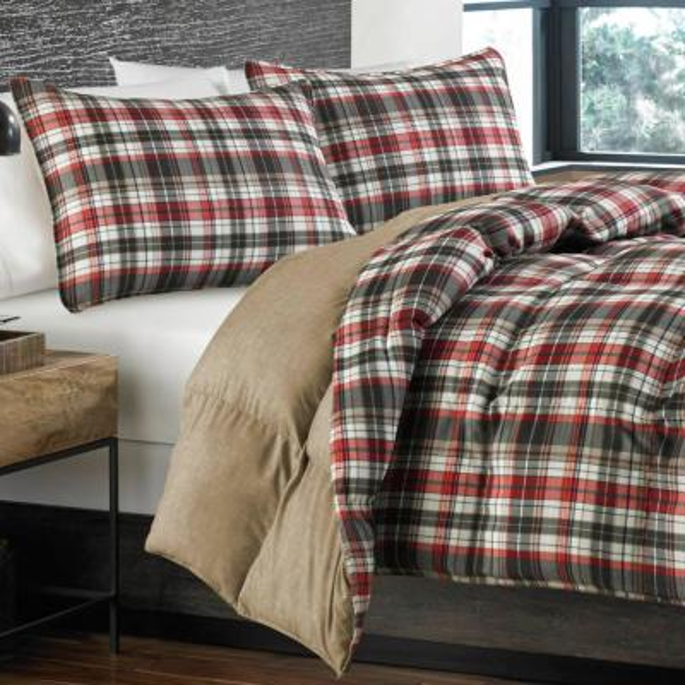 Astoria Red Plaid Microfiber Comforter Set