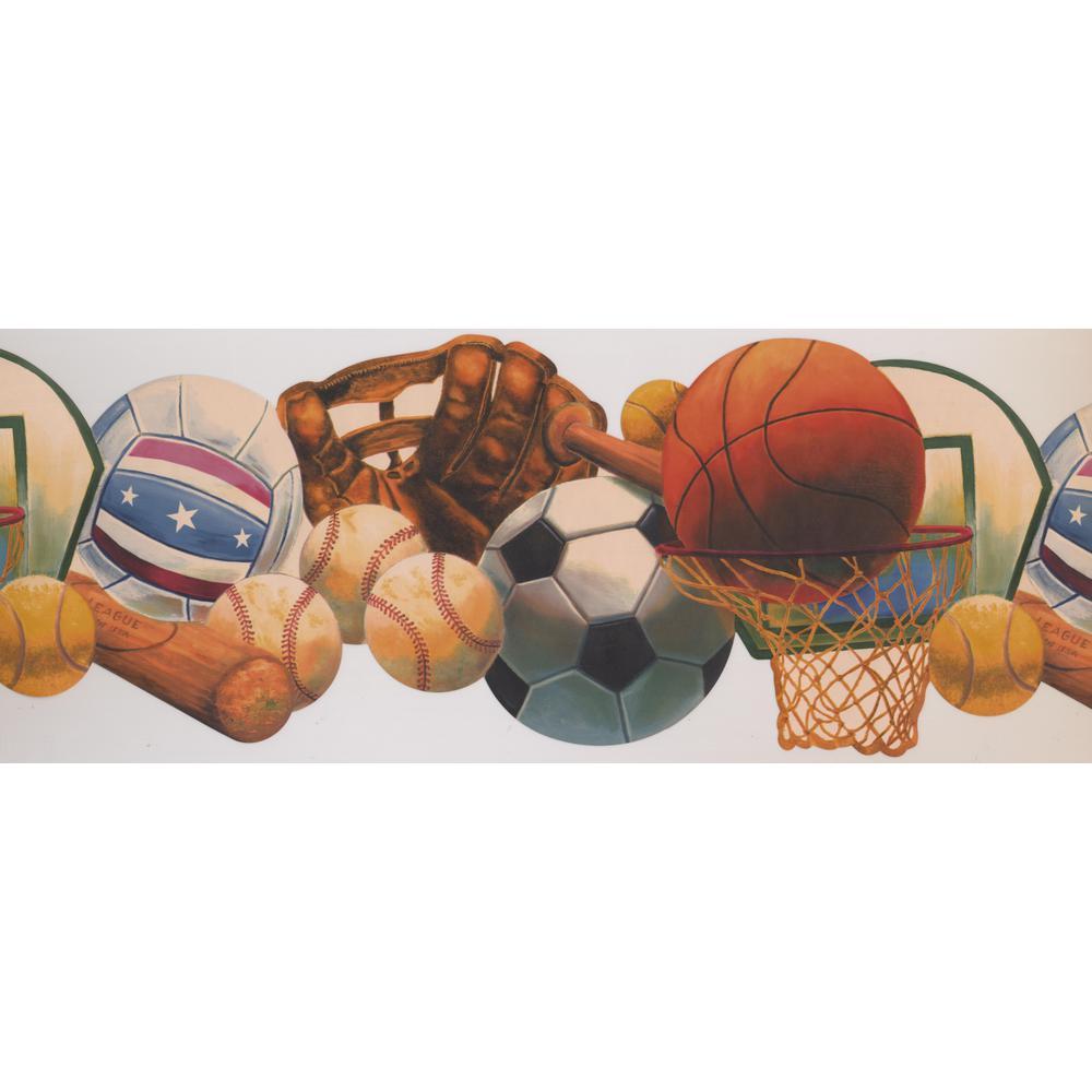 Retro Art Baseball Basketball Tennis Soccer Ball Basket Glove Bat Sports Prepasted Wallpaper Border Kz1252b The Home Depot