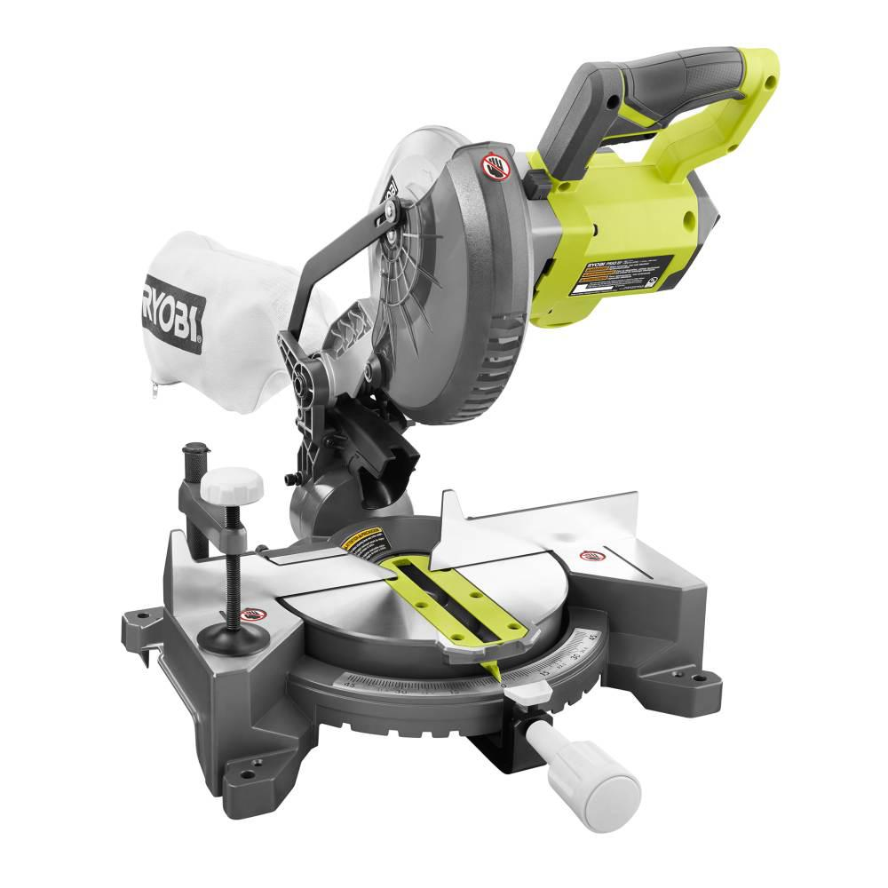 RYOBI 18-Volt ONE+ Cordless 7-1/4 in. Compound Miter Saw (Tool Only) with Blade and Blade Wrench