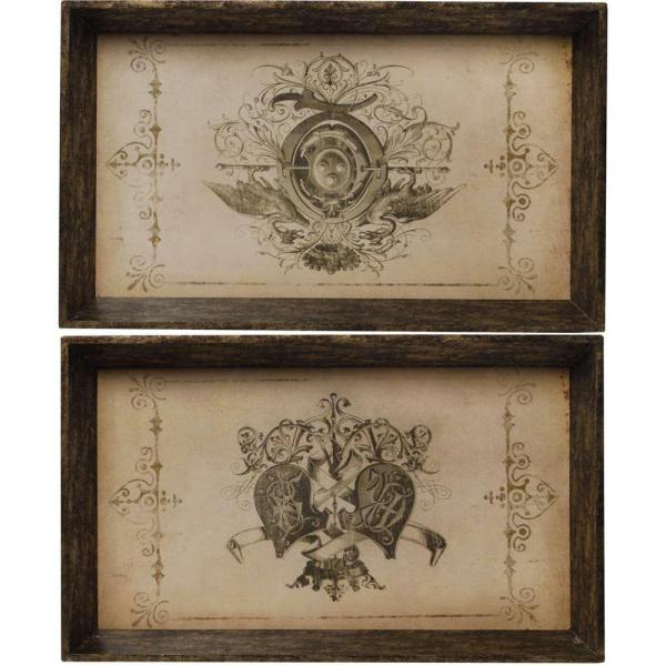 A & B Home 25 in. x 15 in. Decorative Tray in Rustic Brown (2-Pack)
