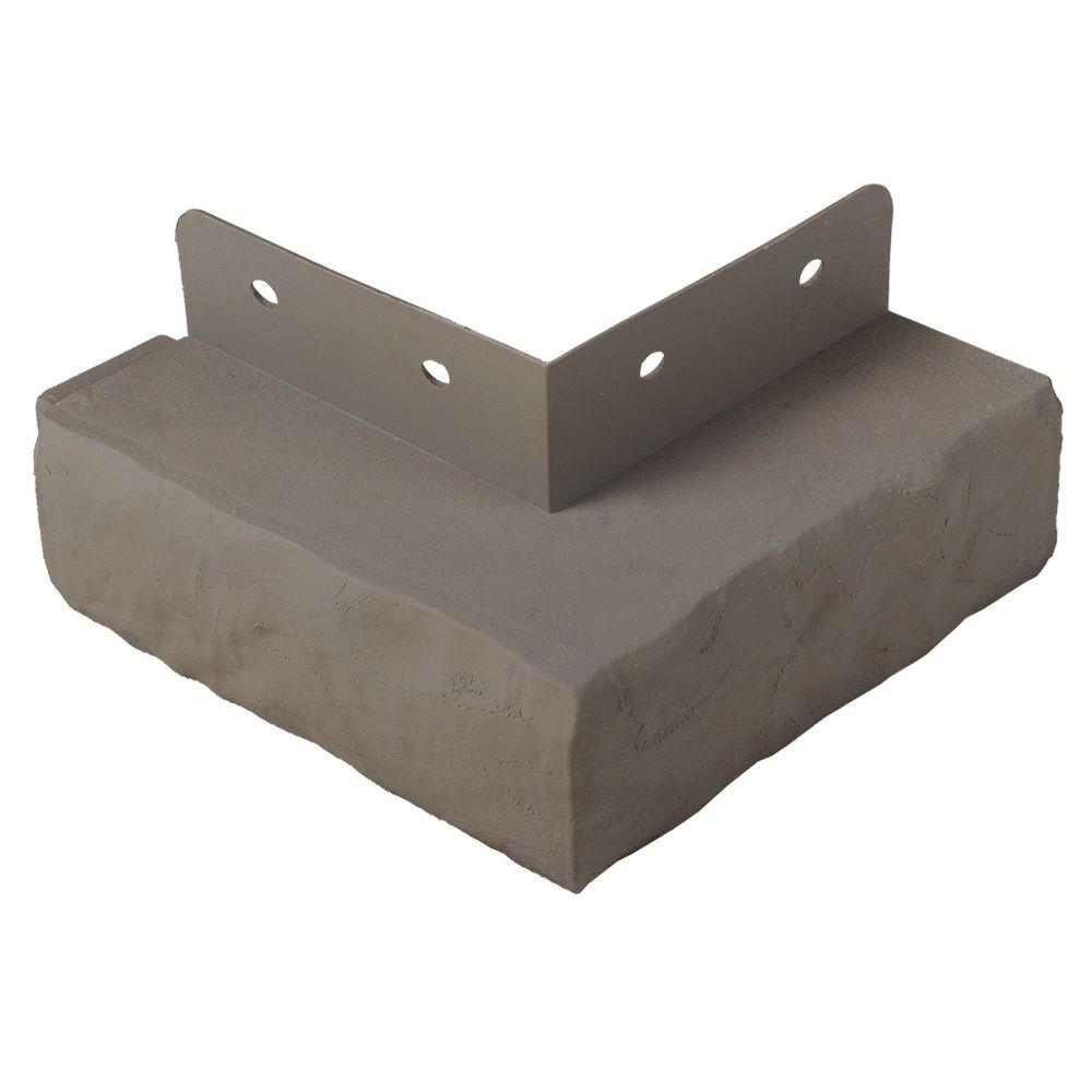 Exteria 5.5 in. x 5.75 in. x 1.75 in. 90° Premium Masonry Polypropylene Ledge Trim Corner in Gray (Carton of 1)
