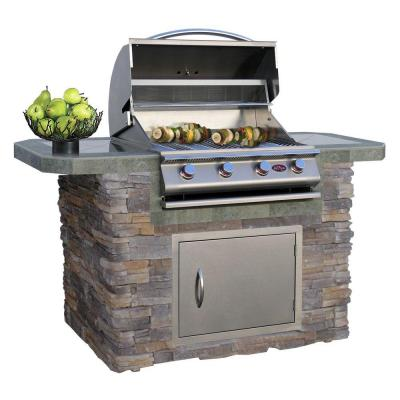 6 ft. Stone Veneer and Tile Grill Island with 4-Burner Gas Grill in Stainless Steel