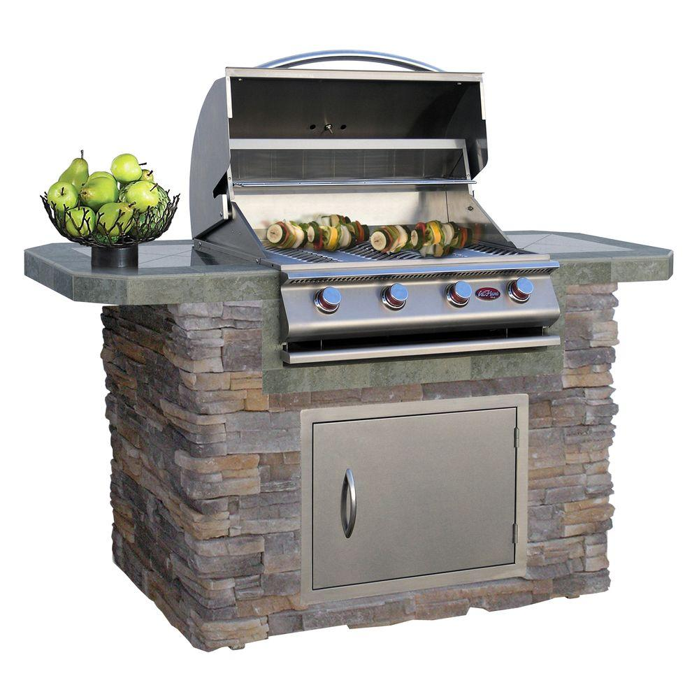Cal flame 6 ft cultured stone and tile grill island with for B kitchen glass grill