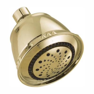 5-Spray 3.8 in. Single Wall Mount Fixed Shower Head in Polished Brass