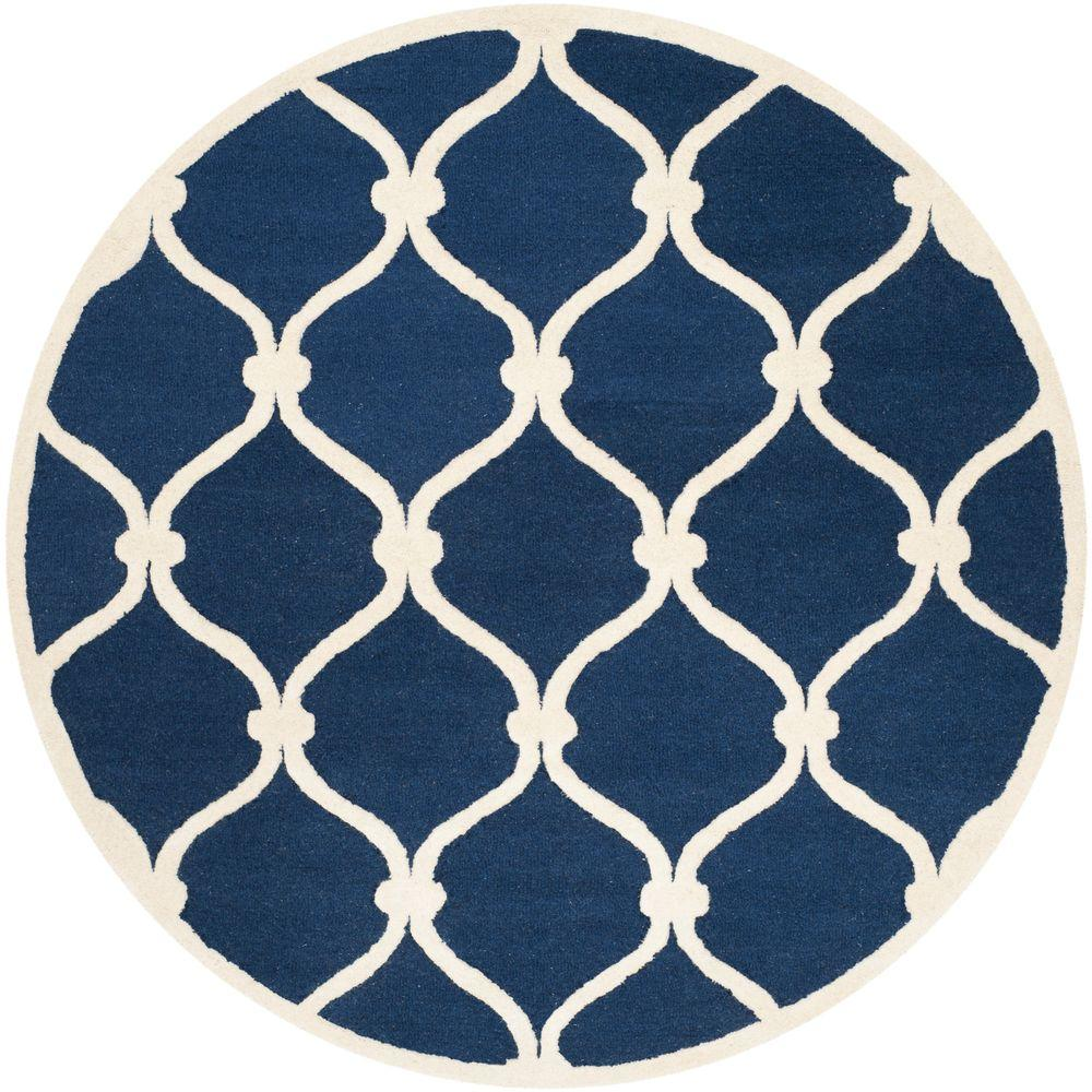 Home Depot Foyer Rugs : Safavieh cambridge navy ivory ft round area rug