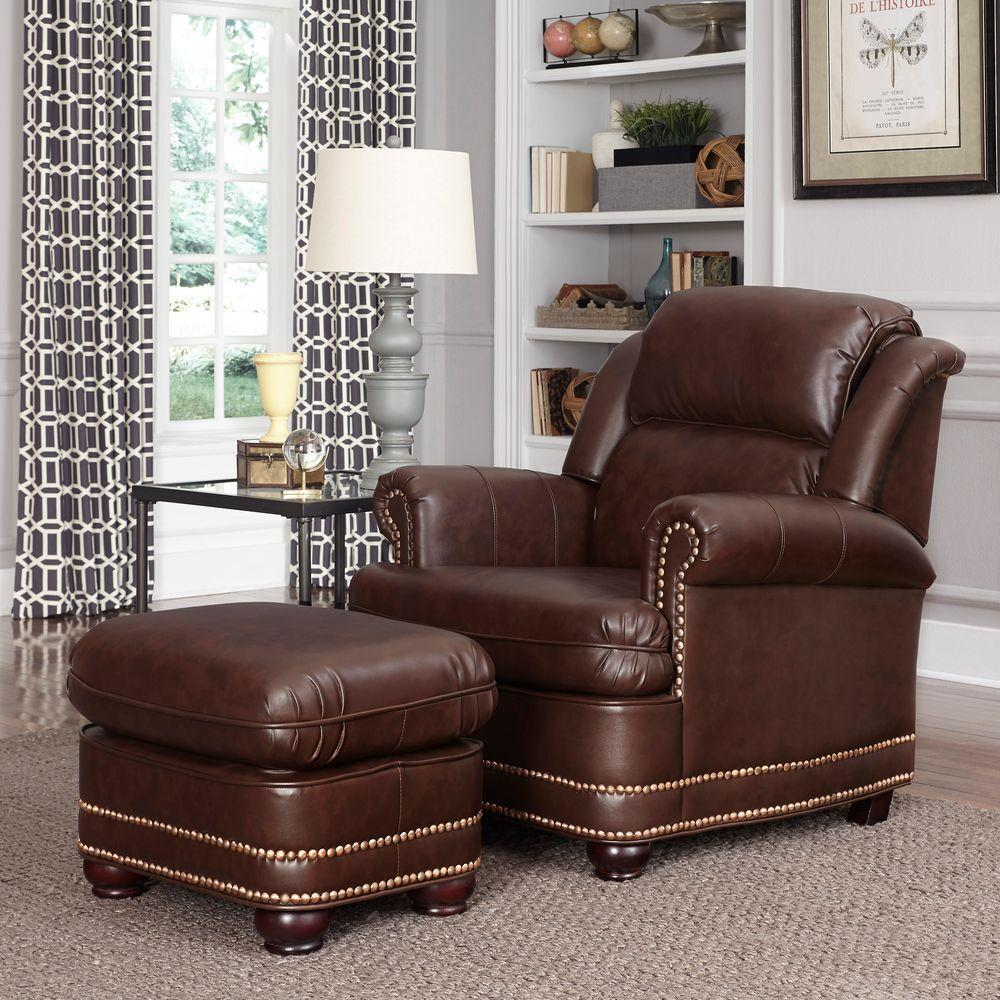 Home Styles Beau Brown Faux Leather Arm Chair With Ottoman