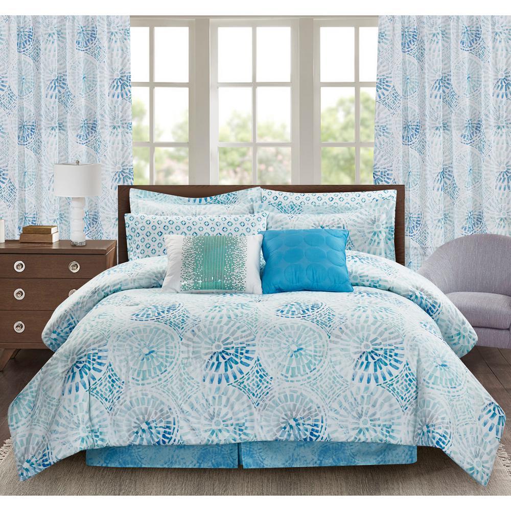 Sundial 4-Piece Blue Queen Comforter Set