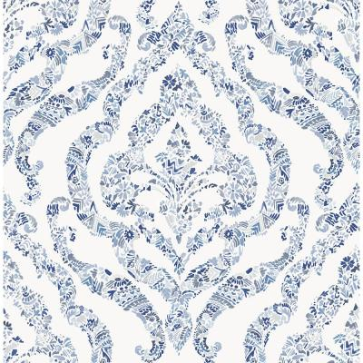 8 in. x 10 in. Featherton Blue Floral Damask Wallpaper Sample