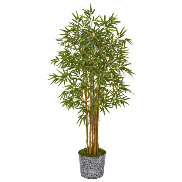5 ft. Bamboo Artificial Tree in Tin Planter