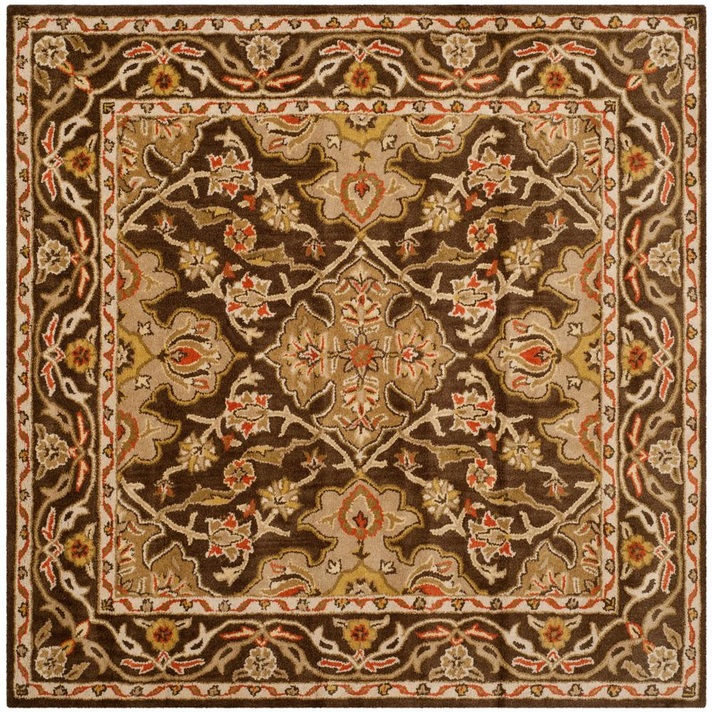 safavieh classic brown 6 ft x 6 ft square area rug. Black Bedroom Furniture Sets. Home Design Ideas