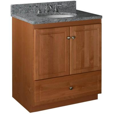 Ultraline 30 in. W x 21 in. D x 34.5 in. H Vanity with No Side Drawers Cabinet Only in Medium Alder