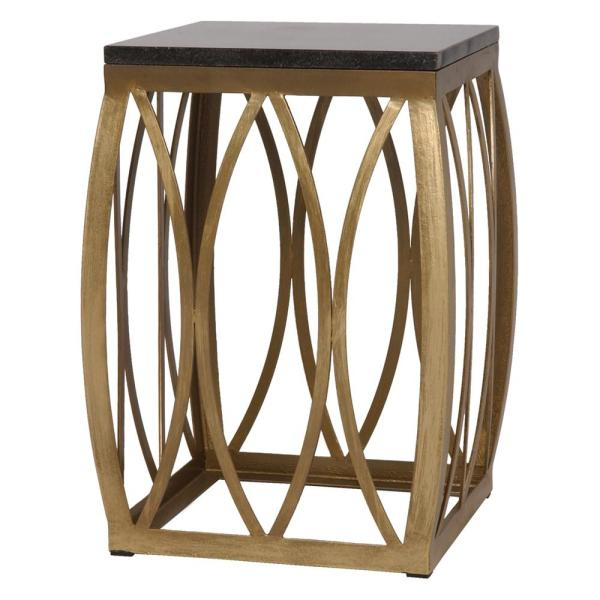 23 in. Vault Gold Metal Outdoor Side Table/Stool with a Black Granite Top