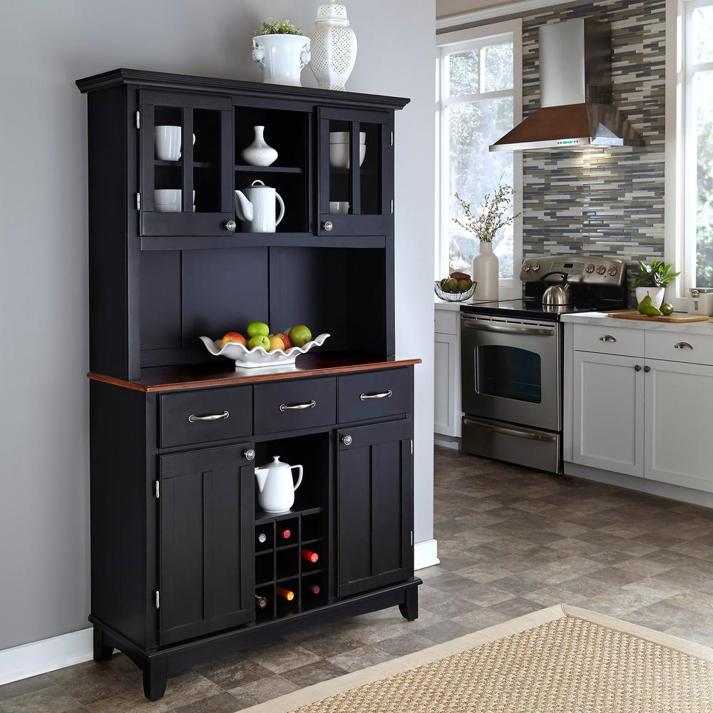 Home Styles Black and Cherry Buffet with Hutch, Black W/C...