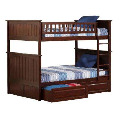 Nantucket Walnut Twin Over Full Bunk Bed with Twin Raised Panel Trundle Bed