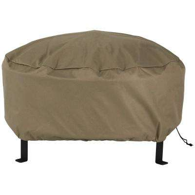 58 in. Khaki Durable Long-Lasting PVC Round Fire Pit Cover