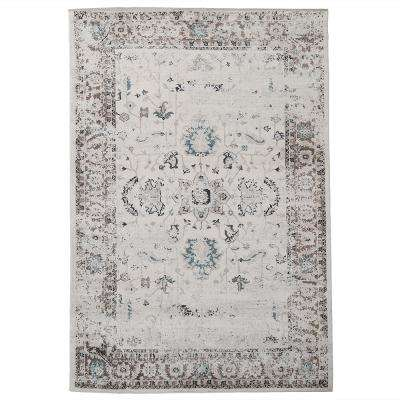 Floral Brown 8 ft. x 10 ft. Distressed Area Rug